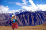 An old woman on her way to Maccu Pichu, just outside Cusco, Peru.