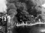 Cuyahoga River on fire in the early 1970's.