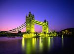 Tower Bridge at night in London.