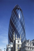 Swiss R.E. building and the Gherkin in London.