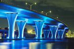 Night bridge at Port of Miami, Florida.