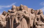 Statues of Ukraine heroes at Rainbow Arch park in downtown Kiev, Ukraine.