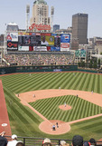 Professional Baseball game at Progressive Field in Cleveland.