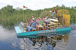 People airboat riding in Miccosukee Indian village, Florida.