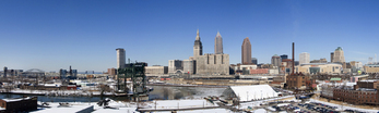 Panoramic view of Cleveland, Ohio skyline in the winter.