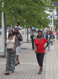 Black family walking to event in Cleveland Ohio