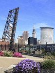 Cleveland, Ohio skyline with flowers