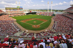 Great American Ballpark home of the Cincinnati Reds filled with fans during the early innings of a game. C