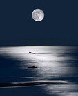 Full moon over Lake Michigan.