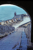El Morro Fortress, Old San Juan, view along the Santa Barbara Battery after a brief rain shower