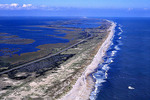 Aerial view of Outer Banks, Pea Island National Wildlife Refuge