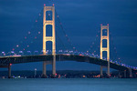 Mackinac Bridge over Mackinac Straits at night