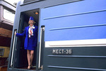 Woman Conductor on the Famous Trans Siberian Railroad in  Russia