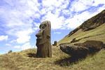 Rano Raraku Moai Statues Abstracts Easter Island during Tapati Festival Rapa Nui