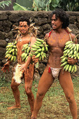 Native preparing to compete in banana race Easter Island during Tapati Festival Rapa Nui