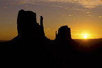 The Mittens at sunset in Monument Valley Arizona