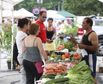 Outdoor street farmer's market in the midwest