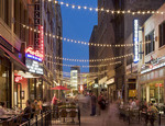 Outdoor dining on East Fourth Street Downtown Cleveland