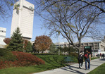 Students walking on campus of Cleveland State University