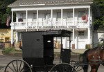 Amish buggy in front of a general store.