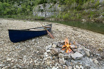 Canoe parked opposite Red Bluff, mile 102 on the Buffalo National River,