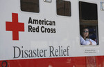 American Red Cross worker in disaster relief truck