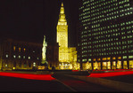 Cleveland skyline showing Tower City and Peace Memorial at night