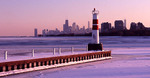 Chicago in the winter from the entrance to Montrose Harbor.