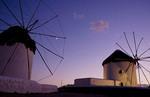 Famous windmills on beach in Mykonos in the Greek Islands, Greece.