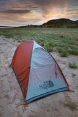 Tent set up at Lake Meredith National Recreation Area, Alibates Flint Quarries National Monument