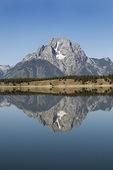 Mount Moran reflecting in crystal clear Jackson Lake, Grand Teton National Park