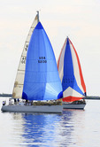 Sailboat race on Lake Erie off the shores of Cleveland