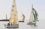 Sailboat racing on Lake Erie in Cleveland