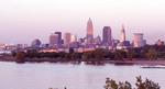 Cleveland Ohio skyline from Edgewater  Park with Lake Erie in foreground