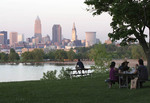 People viewing Cleveland skyline from Edgewater Park on Westside of Cleveland