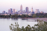 Cleveland skyline with Lake Erie in foreground from Edgewater Park