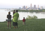 Young Black family viewing Cleveland skyline from Edgewater Park on Westside of Cleveland