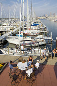 People relaxing at Edgewater Yacht Club in Cleveland, Ohio