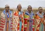 Colorfully dressed tribesmen of the Masai Mara, Kenya,