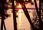 Summer sunset on Elk Lake in Michigan near Traverse City