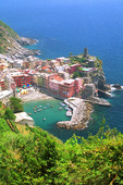 Aerial view of Vernazza harbour in the Cinqeterra Italy