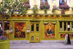 The busy and colorful streets and buildings of the Temple Bar District of Dublin Ireland