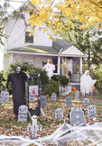 Front yard decorated for Halloween