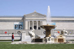 Cleveland Art Museum exterior view with boy at fountain
