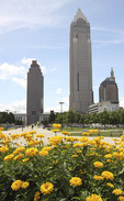 Cleveland, Ohio skyline with summer flowers in the foreground