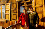 Women at home in wooden house in Listvyanka, Siberia.