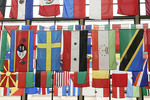 International flags hanging from rafters at Cleveland State University