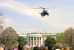 Marine One Presidential Helicopter flying over the Whitehouse