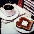 coffee & toast, manipulated polaroid