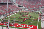 Ohio Sate band  spelling out script Ohio at OSU football game
